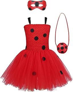M, Rosso Yoyo e Mask 4pcs Fancy Dress Set HuangWeida Costumi di Ladybug Cosplay Tuta con Capo Supereroe