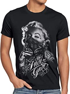 style3 Marilyn Tattoo 'No Pain' Camiseta para Hombre T-Shirt Rock Monroe tatuar USA