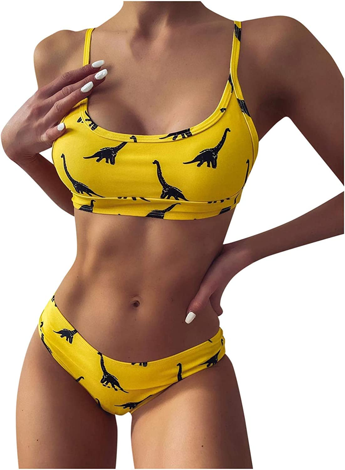 APPointed Two Piece Swimsuits for Womens Padded Dinosaur Print Spaghetti Strap Adjustable Bikini Sets Low Waist Bathing Suits