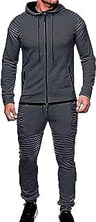 Spring and Winter Men's Solid Color Tracksuit Set Sweatshirt Jogger Sweatpants Casual Warm Sports Suit