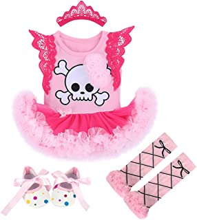Newborn Baby Girl My 1st Halloween Costume Santa Skull Romper Tutu Dress Infant Pumpkin Costume 4Pcs Outfit Set
