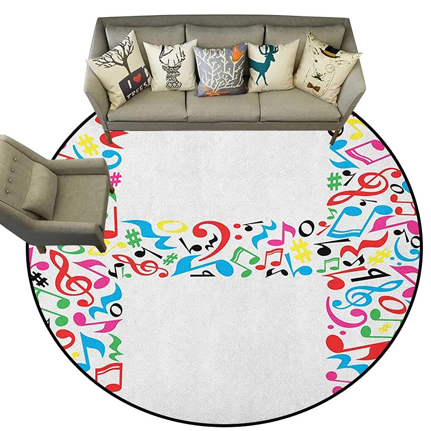 Letter H,Floor Mat Communication Tool Writing Language Element H Designed in Musical Notes Print D40 Living Room Round Mats Area Rugs