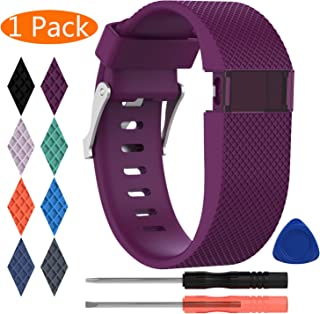 KingAcc Compatible Replacement Bands for Fitbit Charge HR, Soft Silicone Band with Metal Buckle Fitness Wristband Sport Strap Women Men Large Small Black, Orange, Gray, Blue, Purple