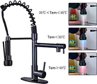 Saeuwtowy Orb Kitchen Faucet Nozzle Swivel With Led Pull Down Spring 82910srn