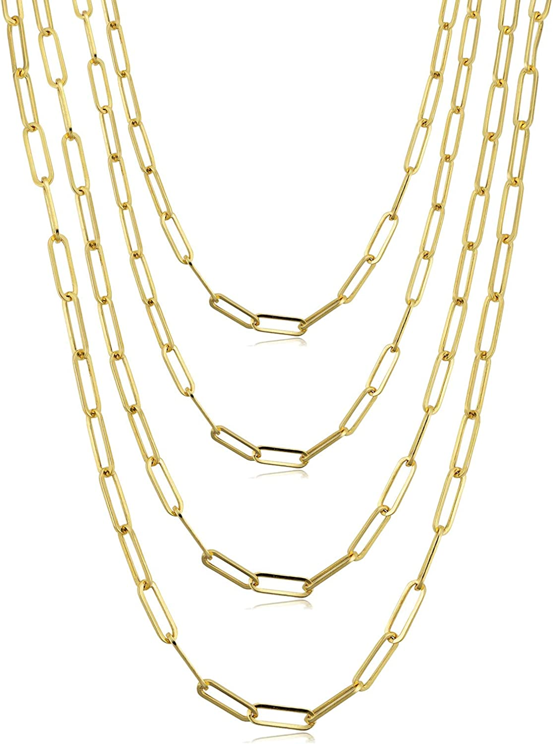 14K Gold Plated Chain Necklace for Women Paperclip Linked Chain Necklace Stainless Steel Flat Snake Chain Necklace Set 4Pcs