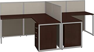 Bush Business Furniture Easy Office 60W Two Person L Shaped Desk Open Office with Mobile File Cabinets in Mocha Cherry