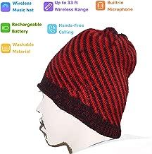 Bluetooth Beanie with Headphones Wireless Bluetooth Hat, Stereo Smart Beanie Headset Musical Knit Headphone Speaker Hat Speakerphone Cap, Built-in Microphone, Music Hat for Travelling (Stripe)