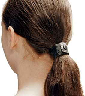 Black Dove hair tie by Hairtyz (single piece) | Leather ponytail holder - hair accessory - scrunchie | Hide your elastic band - modular - flexible | Snap them together for long hair
