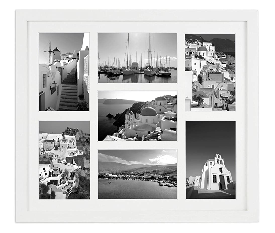 Golden State Art Display 7 4x6 Pictures, White Wood Collage Picture Frame with White Mat & Real Glass (White)