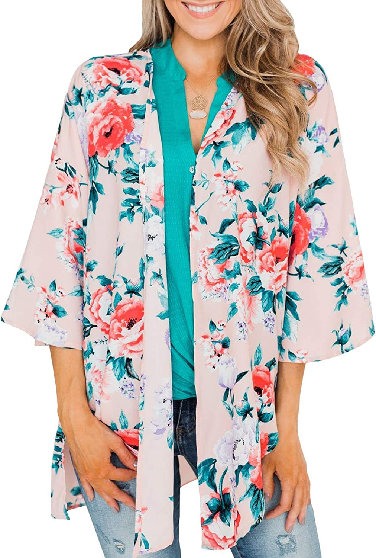 Womens Kimono Cardigan Floral Print Chiffon Beach Cover ups Loose Casual Blouse Tops