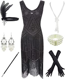 1920s Gatsby Sequin Fringed Paisley Flapper Dress with...