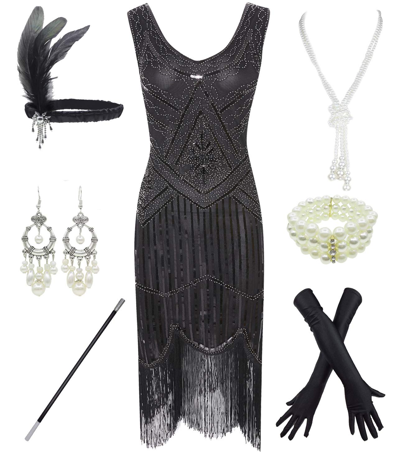 Party Dresses - 1920s Gatsby Sequin Fringed Paisley Flapper Dress With 20s Accessories Set