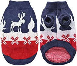 Redland Art Christmas Pet Cat Puppy Sweater Winter Knitted Cat Kitten Clothes Clothing for Small Dogs Cats Turtleneck Chihuahua Pets Costume (Color : Blue, Size : M)