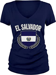 Amdesco Junior's El Salvador Flag Shield, Salvadoran Pride V-Neck T-Shirt
