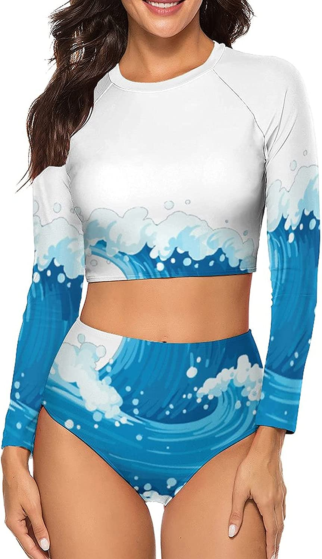 Tvsuh-u Women's Bathing Suit 2 PCS Blue Sea Wave Long Sleeve Rash Guard Swimsuits