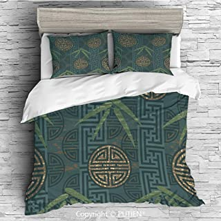 FULL Size Cute 3 Piece Duvet Cover Sets Bedding Set Collection [ Bamboo,Authentic Asian Composition with Oriental Motifs Leaves Eastern Elements Decorative,Green Tan Slate Blue ] Comforter Cover Set f