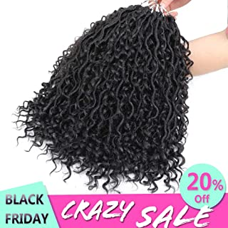 MOBOK 6packs NEW Goddess Locs Crochet Hair 14 Inch Pre-Looped Skinny River Fauxs Locs Wavy Crochet With Curly Hair In Middle And Ends (14inch, 1B)