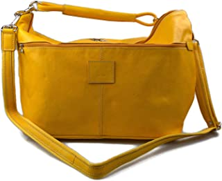 Leather Duffle Mens Women Leather Duffle Bag Yellow Travel Bag Luggage