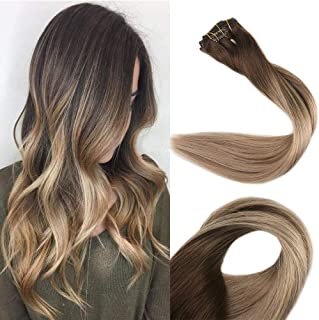 Full Shine 18 inch Clip in Colored Hair Extensions Balayage Hair Highlight Color #4 Fading to #18 and #27 Straight Clip in Extensions