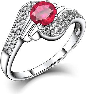ButiRest - Anello in oro bianco 18 carati 750 con 4 denti taglio rotondo 0,6 ct rosa rosso rubino VS e diamante 0,32 ct
