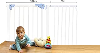 Kiddale Extra Wide, Auto Close, Baby Safety Gate (Barrier, Fence) for Baby Kids, Dogs, Pets, Infants and Babies to Use at Home Suitable for Passage Width Between 120-127 cm Height: 78cm-White