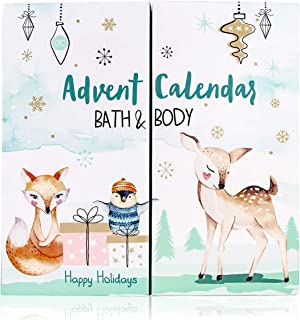 Kalendarz adwentowy Happy Holidays 2021 dla dziewczynek z 24 produktami do kąpieli, pielęgnacji ciała i akcesoriami dla ur...
