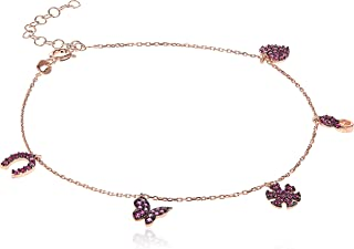 Alwan Silver Rose Gold Plated Long Size Anklet for Women with Multiple Charms - EE5249MLRPNX
