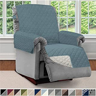 Sofa Shield Original Patent Pending Reversible Recliner Slipcover, 2 Inch Strap Hook Seat Width Up to 28 Inch Washable Furniture Protector, Slip Cover Throw for Pets, Kids, Recliner, Seafoam Cream