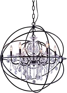 Elegant Lighting 1130 Geneva Collection 6-Light Pendent Lamp with Royal Cut Crystals, 32