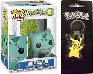 Funko Green Eater Pokemon Bulbasaur Figure #453 Bundled with Grass Starter Fan Favorite Character Keychain 2 Items