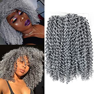 YXCHERISHAIR 10inch 3PCS/LOT,Synthetic Jerry Curl Weave Deep Wave Mambo Twist Crochet Braids with Kanekalon Fiber Heat Resistant Freetress Ombre Braiding Hair Extensions(10 inch 1 Pack, Gray)