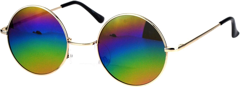 Mens Round Circled Mirrored Lens Wire Rim Musician Sunglasses