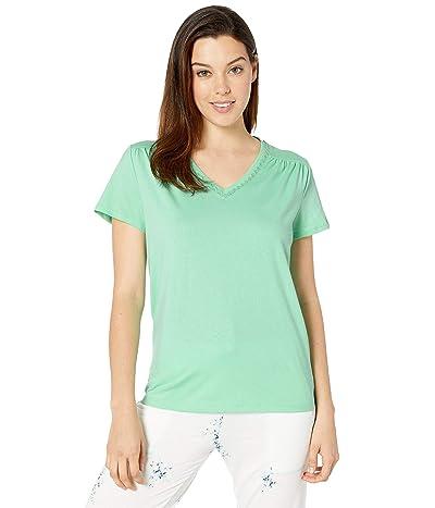 Karen Neuburger Sunday In Sorrento Short Sleeve Pullover Top (Solid/Lucite Green) Women