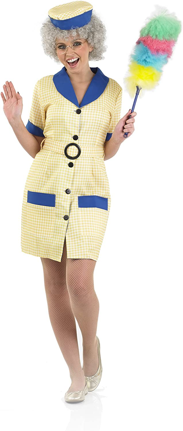 Adult Cleaner Fancy Dress 60S 70S Retro Stag Night Hen Party Costume Outfit
