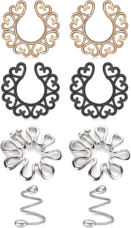 AceFun Fake Nipplerings Piercings Adjustable Clip On Nipple Rings Stainless Steel Non-Piercing Nipple Jewelry for Women