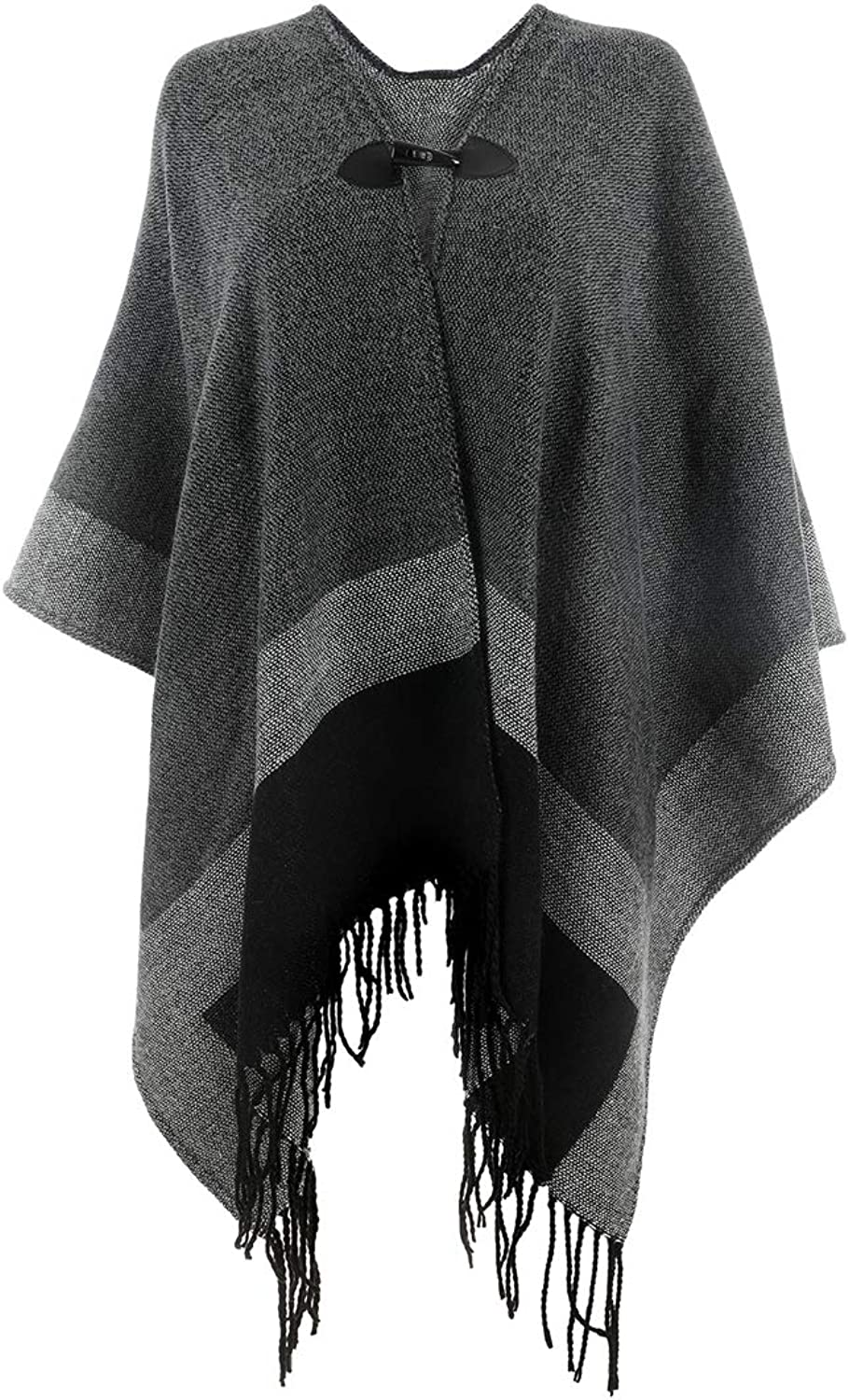 Women's Reversible Winter Knitted Faux Cashmere Fringe Poncho Capes Shawl Cardigans Blanket Wrap Sweater Coat