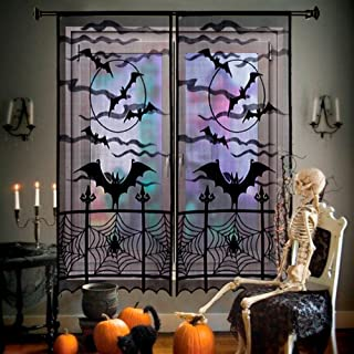 PartyTalk 2pcs Halloween Curtains Black Bats Halloween Lace Window Curtain, Spooky Lace Door Curtain Panels for Halloween Window Decorations, 40 x 84 Inch