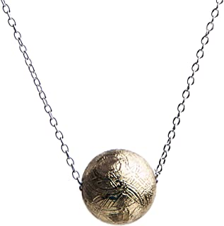 8mm Natural Gibeon Iron Meteorite Gemstone Gold Plated Fashion Pendant Necklace