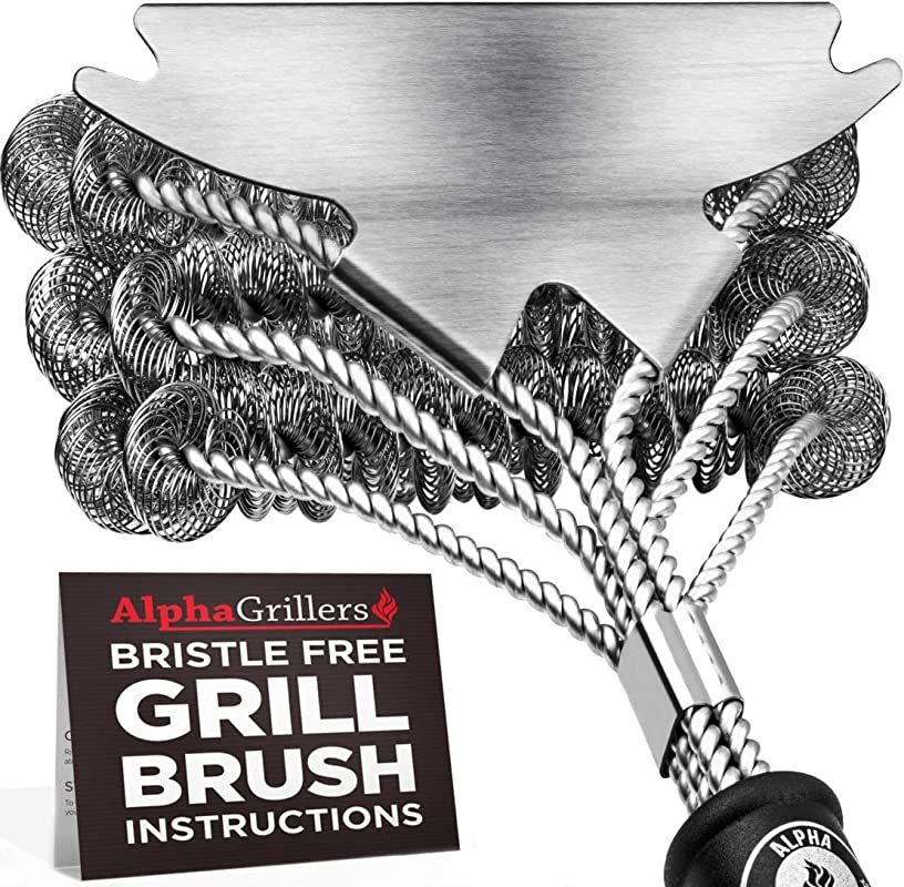 Alpha Grillers Grill Brush Bristle Free Best Safe BBQ Cleaner With Extra Wide Scraper Perfect 18 Inch Stainless Steel Tools For All Grill Types Including Weber Ideal Barbecue Accessories