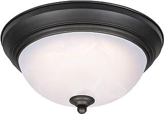 Westinghouse Lighting 64006 Lámpara de techo de 28cm para interiores con LED regulable, acabado en bronce aceitado con cristal de alabastro blanco, 15 W, 28 cm