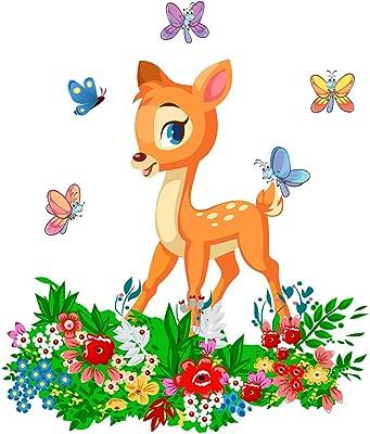 Wallzone Beautifull Deer Medium Vinyl Wallsticker(70 cm x 80 cm)