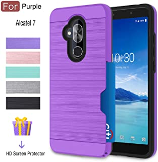 Alcatel 7 Case, T-Mobile Revvl 2 Plus Case with Card Slots Holder, Atump Built-in Armor [HD Screen Protector][Wallet][Metal Texture] TPU Shockproof Cover Cases for Alcatel 7 Folio Purple