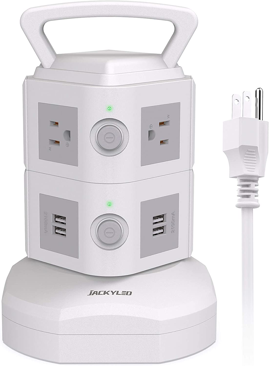 JACKYLED Power Strip Tower Surge Protector 6 AC Outlets and 4 USB Ports Electric Charging Station with 6.5ft Heavy Duty Extension Cord for Home Office Dorm Computer White Grey