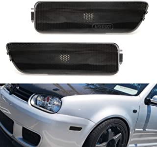 iJDMTOY Euro Smoked Lens Front Bumper Side Marker Lamps Housings For 1999-2005 Volkswagen MK4 Golf GTI R32 Rabbit Jetta, Replace OEM Amber Sidemarker Lamps