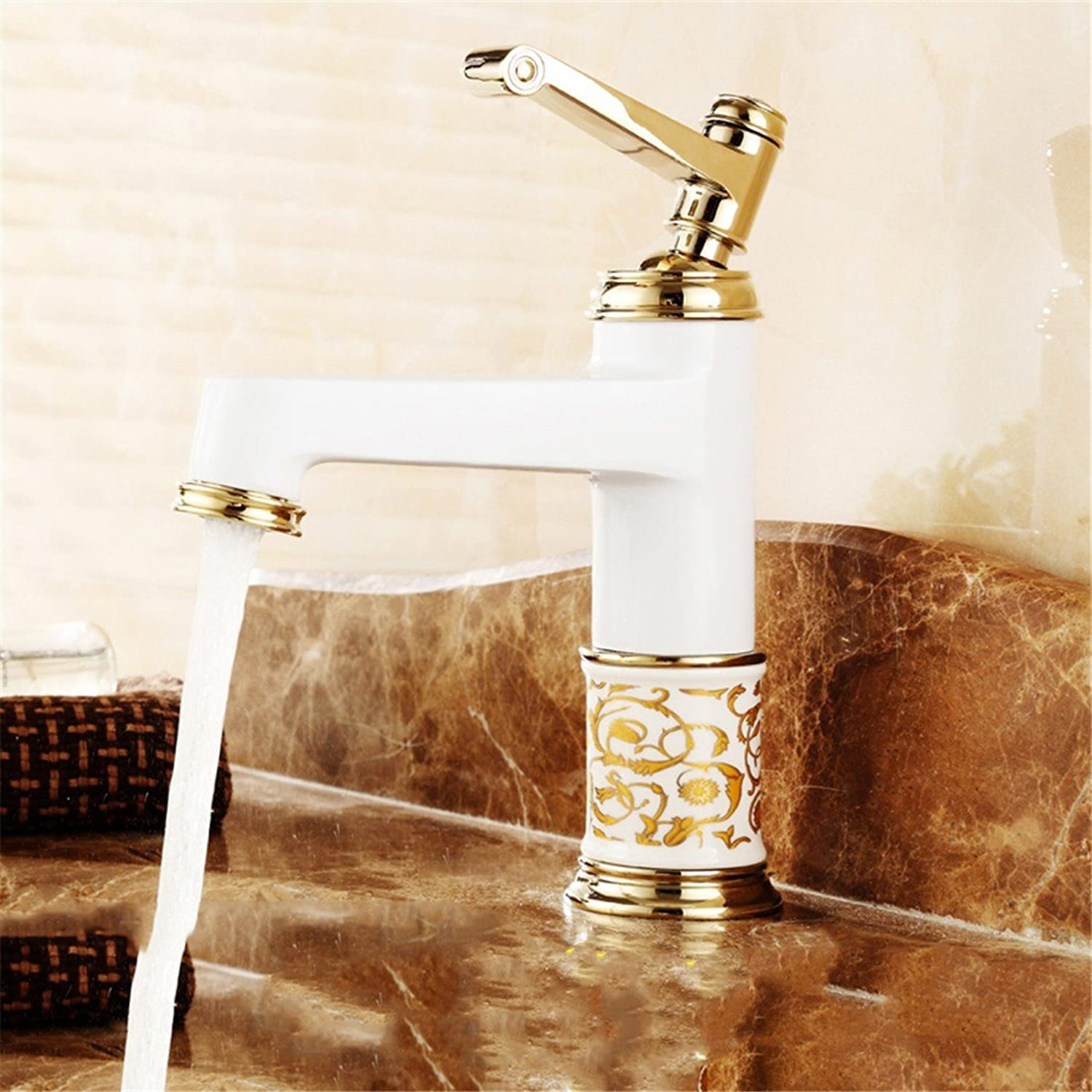 Hlluya Professional Sink Mixer Tap The golden faucet hot and cold taps full copper bathroom plus high bluee-tiled table top basin gold plated antique fittings, paint - gold taps the braided hose