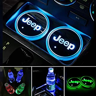 Aswelly LED Car Cup Holder Lights for Jeep, 2PCS Car Logo Cup Coaster with 7 Colors Changing USB Charging Mat, Luminescent Cup Pad Interior Atmosphere Lamp Cool Car Accessories for Jeep