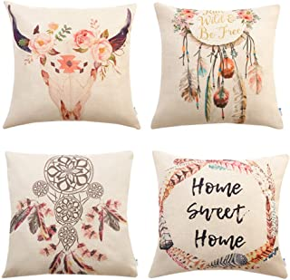 Anickal Set of 4 Bohemian Style Decorative Throw Pillow Covers 18 x 18 Inch for Sofa Couch Décor