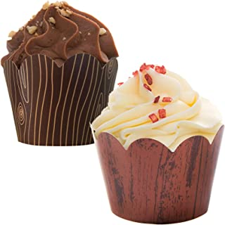 36 Woodgrain Cupcake Wrappers- Reversible- Lumberjack party supplies. Perfect for Rustic Weddings or Woodland Baby Shower