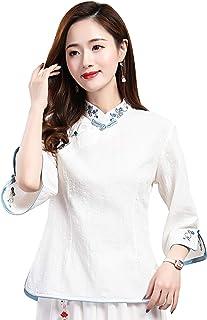 Shanghai Story 3/4 Sleeve Women's Chinese Top Linen Blouse Qipao Shirt