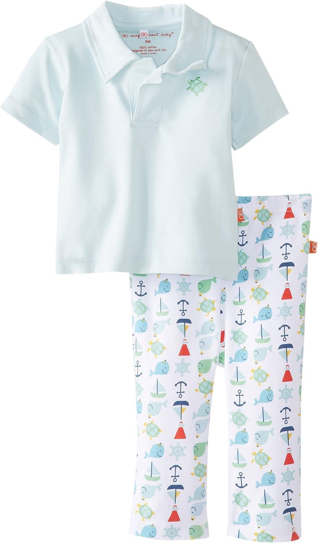 Magnificent Baby Baby-Boys Newborn Nantucket Polo Shirt and Pants Set, Light Blue